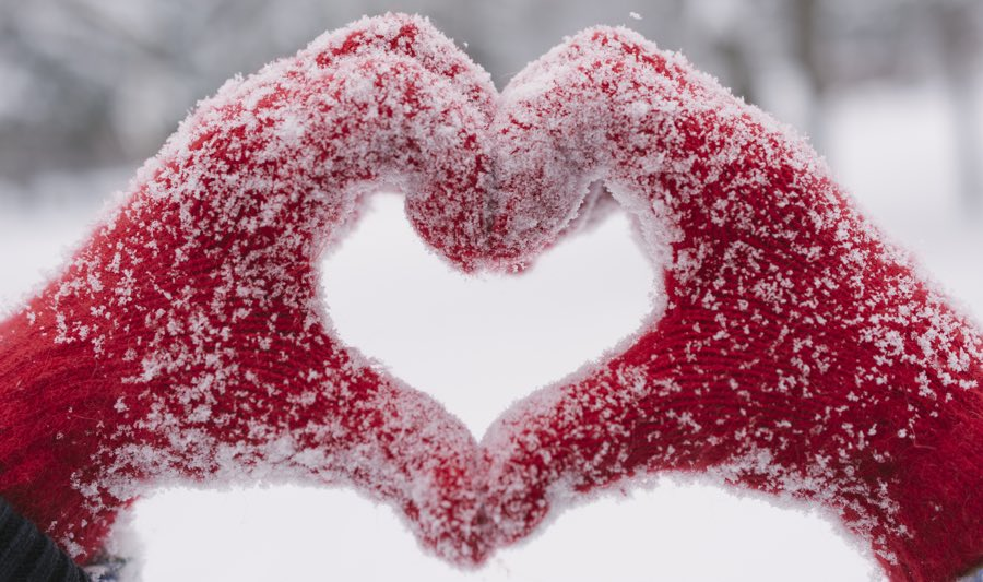 Woman Making Heart Symbol With Snowy Hands North Branch Reformed